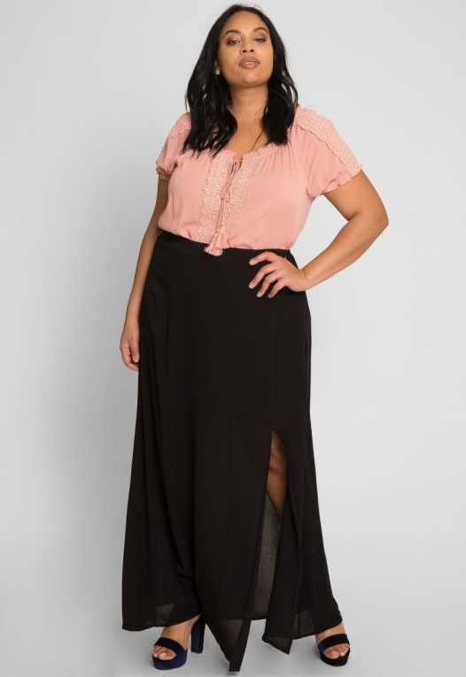 Plus Size Prairie Fields Maxi Skirt alternate img #1