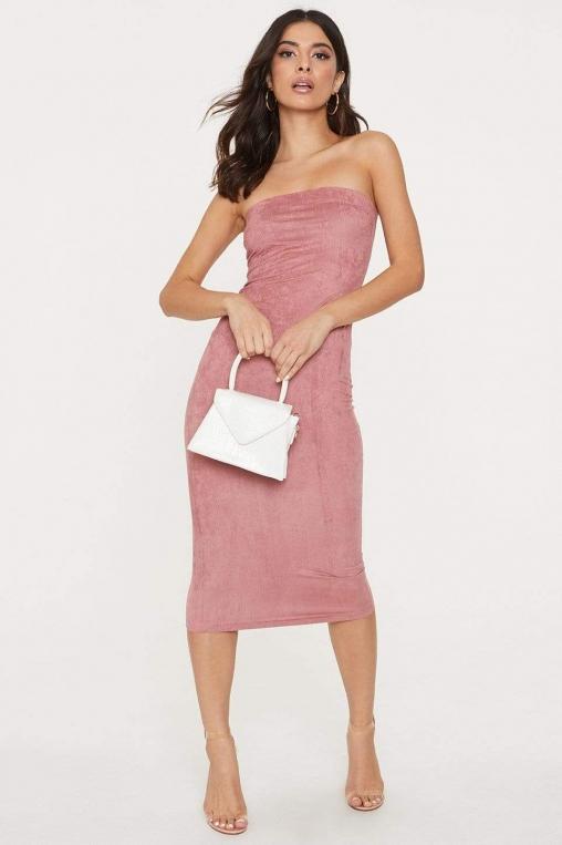 Strapless Suede Midi Bodycon Dress alternate img #1
