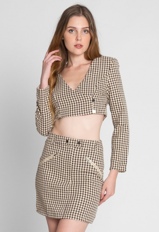 Money Houndstooth Two Piece Set in Brown alternate img #3