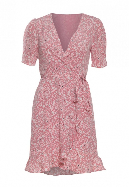 Petals Floral Wrap Dress in Pink alternate img #7