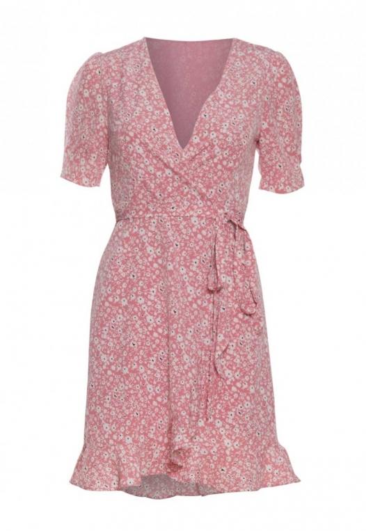 Petals Floral Wrap Dress in Pink alternate img #7