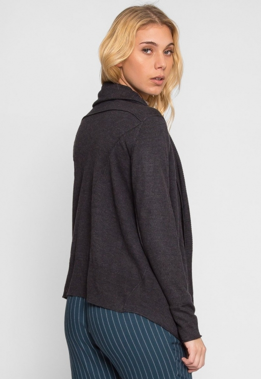 Waterfall Open Front Cardigan in Charcoal alternate img #3