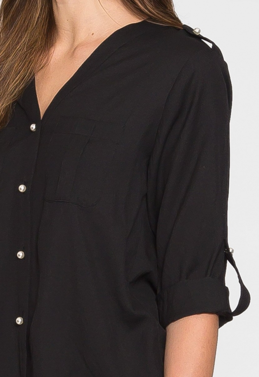 Ocean Waves Pearl Button Up Shirt in Black alternate img #6