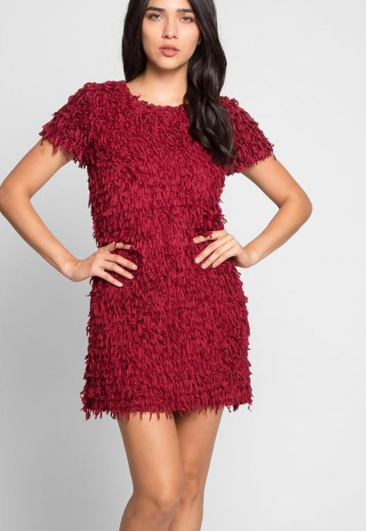 Roaring Fringe Dress in Wine alternate img #5