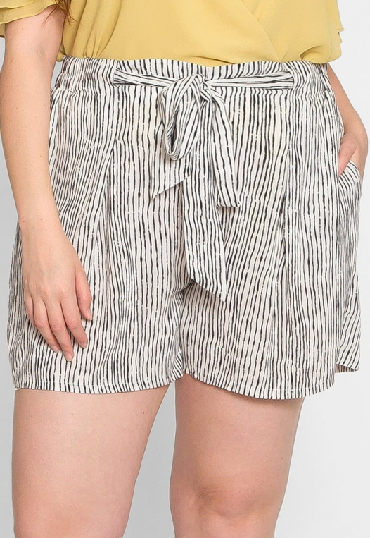 Plus Size High Waist Stripe Shorts alternate img #3