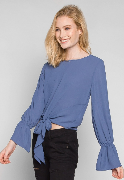 Blue Sky Forever Tie Waist Blouse alternate img #3