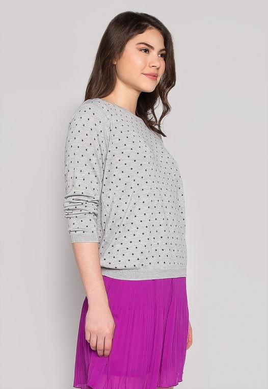 Soft Star Printed Sweater in Gray alternate img #3
