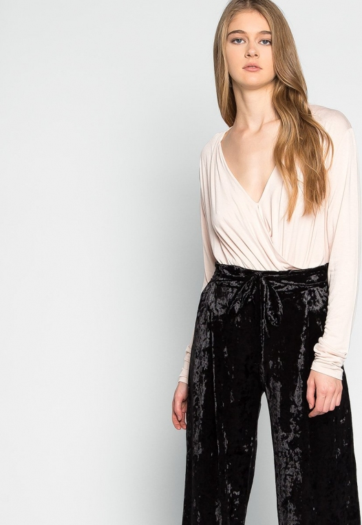 Stay Paper Waist Velvet Pants in Black alternate img #5