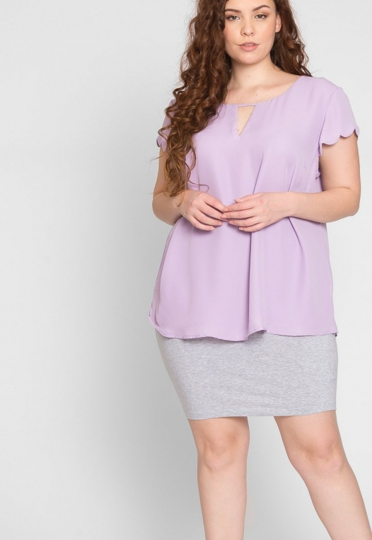 Plus Size Clouds Scallop Edge Top in Lavender alternate img #5