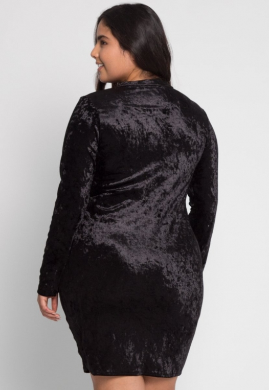 Plus Size Wild Velvet Party Dress in Black alternate img #3