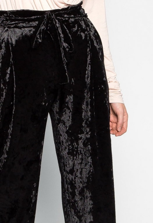 Stay Paper Waist Velvet Pants in Black alternate img #6