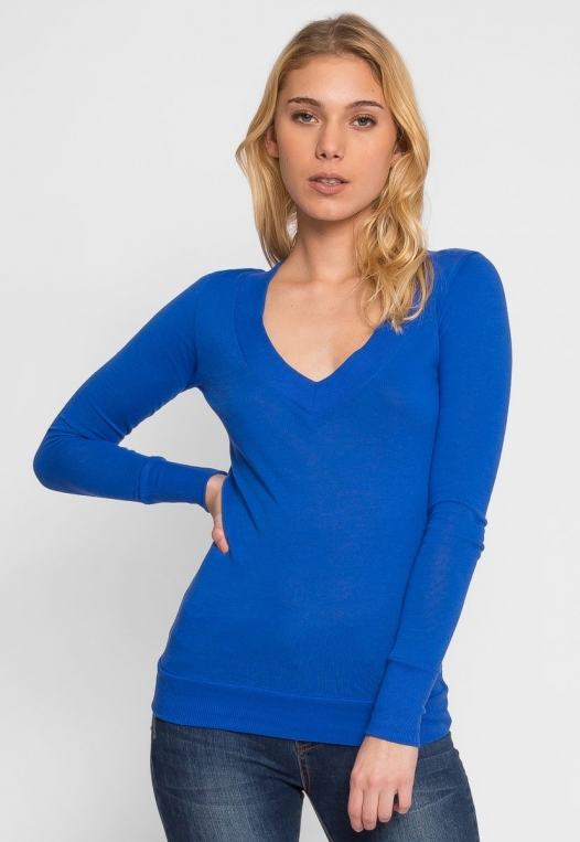 Perfect V Neck Sweater in Blue alternate img #1