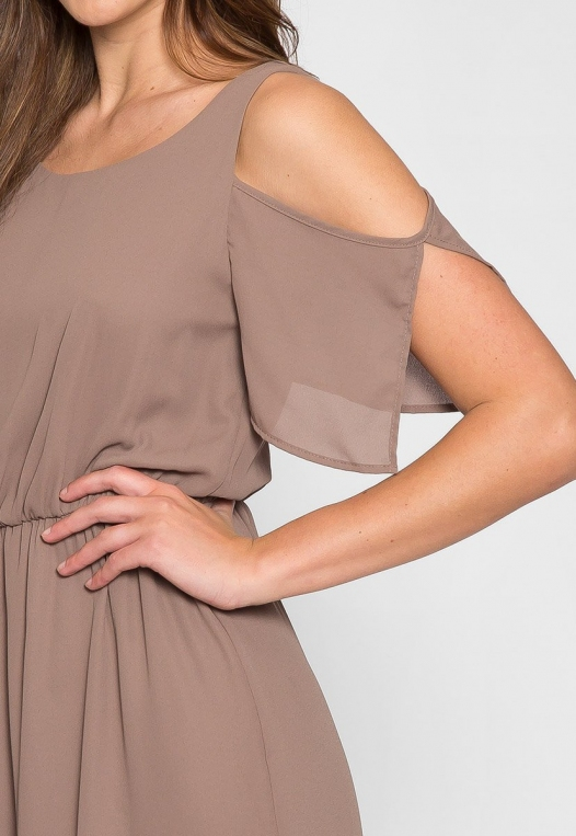 Pathway Cold Shoulder Maxi Dress in Mocha alternate img #6