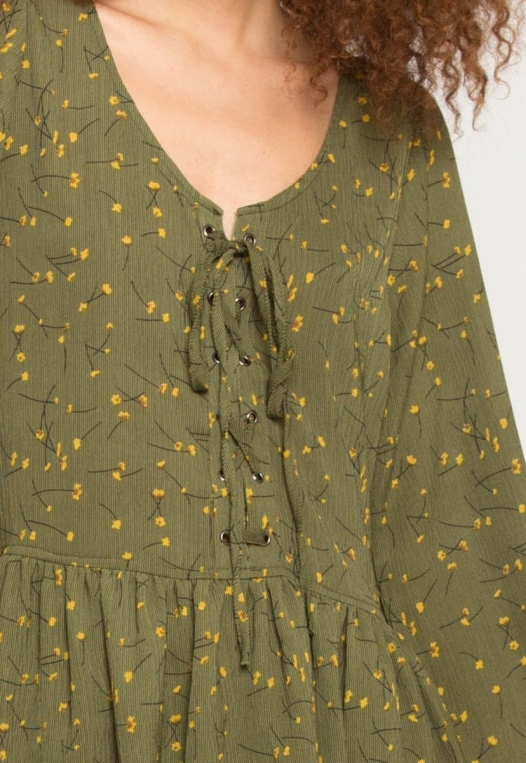 Pine Tiered Floral Dress in Olive alternate img #6