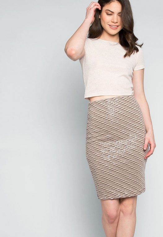 Ocean Waves Sequin Fitted Skirt in Brown alternate img #5