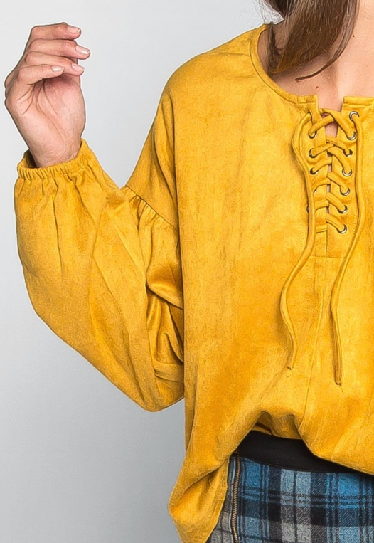 Budapest Lace Up Top in Mustard alternate img #6