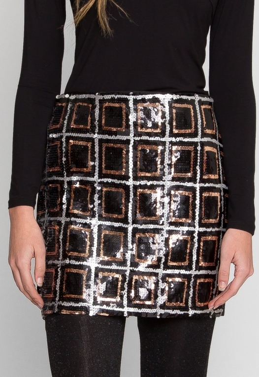 Sequin mini skirt in black alternate img #2