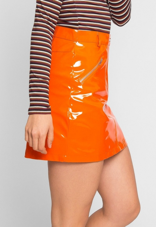 Leroy Neon Mini Skirt in Orange alternate img #3