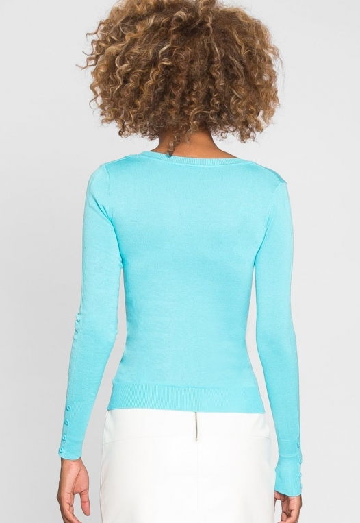 Water Lily V-Neck Cardigan in Aqua alternate img #3