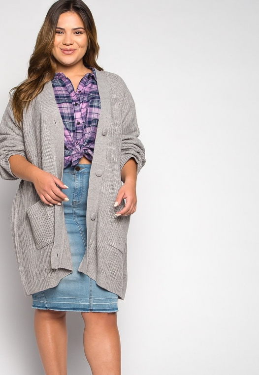 Plus Size Lila Oversized Button Front Cardigan alternate img #5