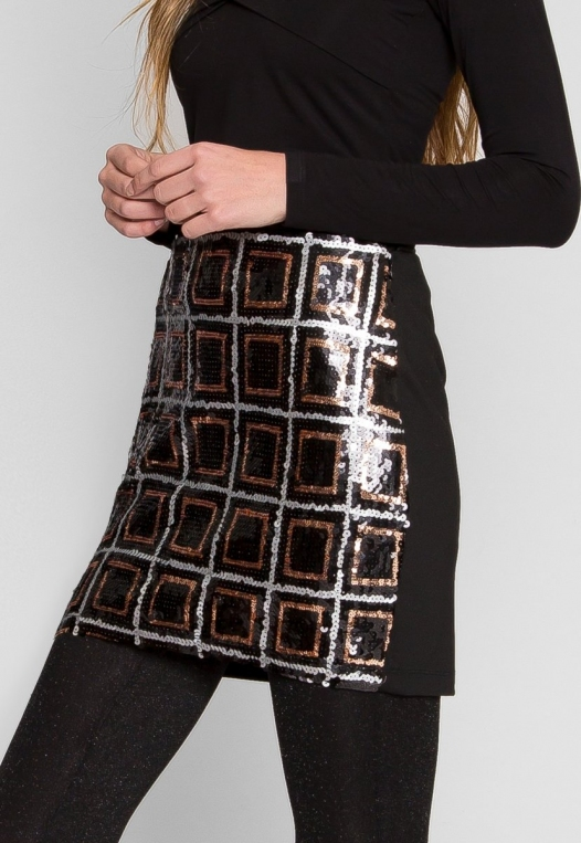 Sequin mini skirt in black alternate img #3
