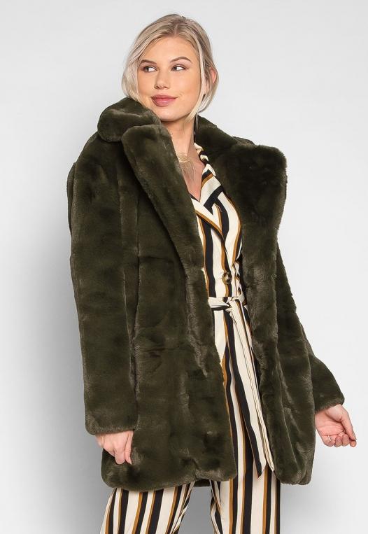 Loving Winter Faux Fur Coat in Green alternate img #3