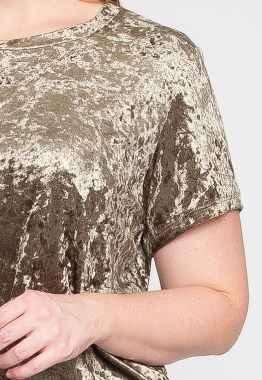 Plus Size Oak Crushed Velvet Top in Olive alternate img #6