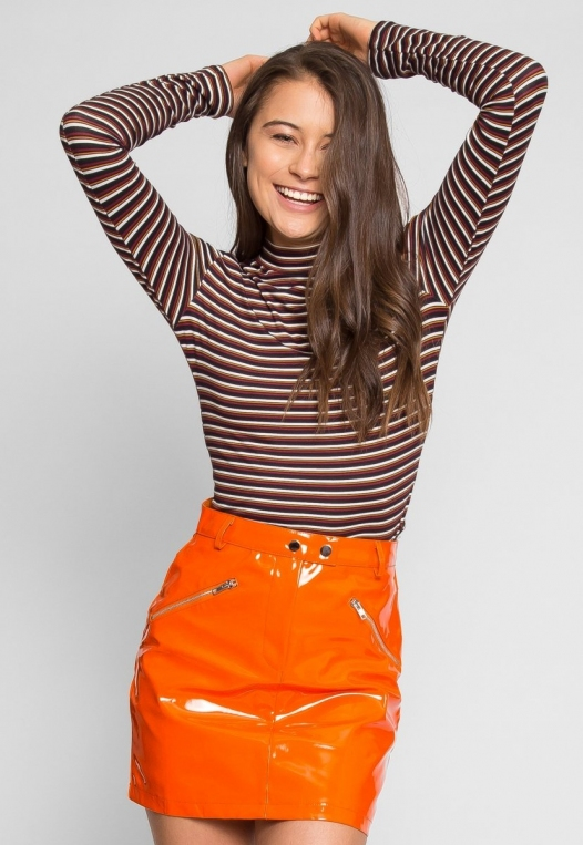 Leroy Neon Mini Skirt in Orange alternate img #1