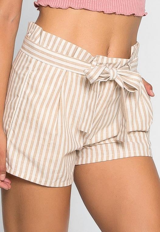 Cappuccino Stripe Paper Waist Shorts alternate img #4