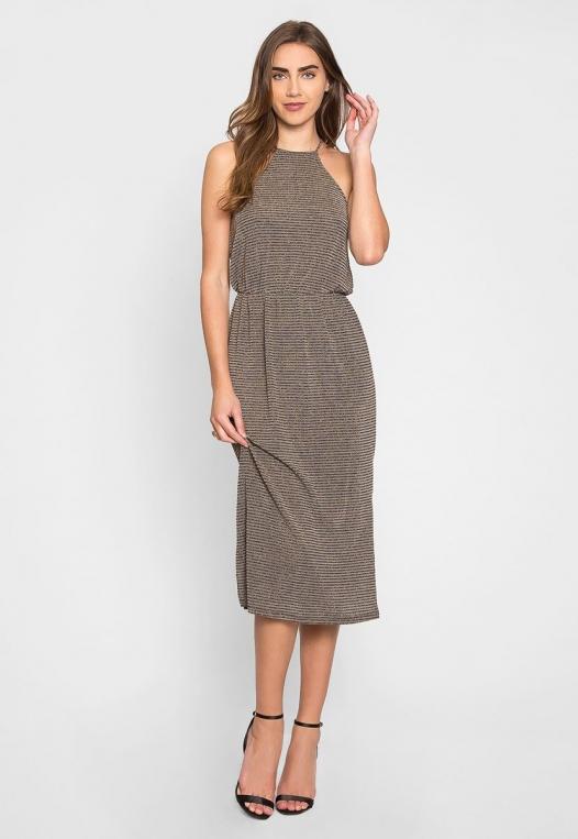 Gina Metallic Striped Maxi Dress alternate img #1