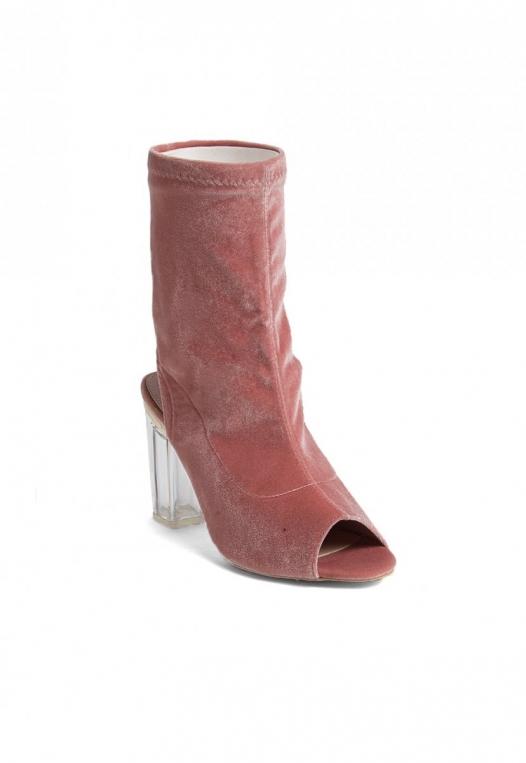 Leandra Velvet Cut Out Sock Heels in Blush alternate img #3