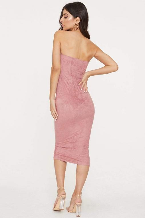 Strapless Suede Midi Bodycon Dress alternate img #4
