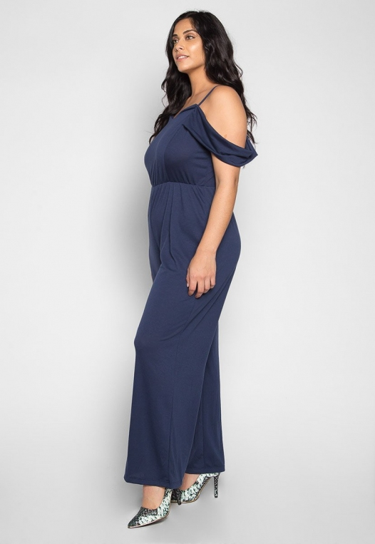 Plus Size Sunday Cold Shoulder Jumpsuit in Navy alternate img #1