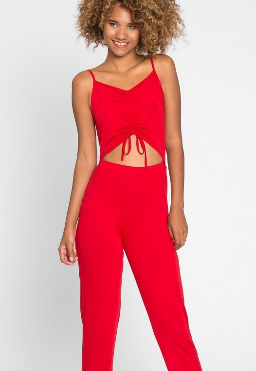 Hot Alert Cut Out Jumpsuit in Red alternate img #6