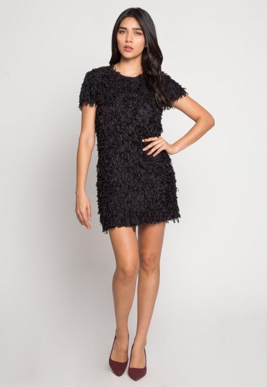 Roaring Fringe Dress in Black alternate img #4