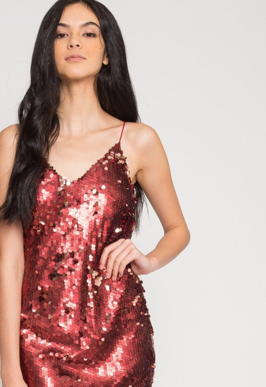 Red Hot Sequin Party Dress alternate img #6