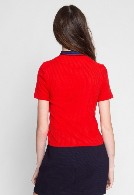 Exuberant Sports Trim Polo Top in Red alternate img #4