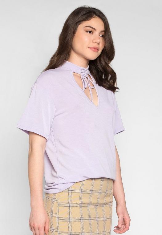 Attitude Self Tie Choker Knit Top in Lilac alternate img #3