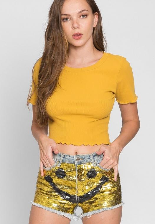 Bright Smile Sequin Denim Shorts alternate img #1