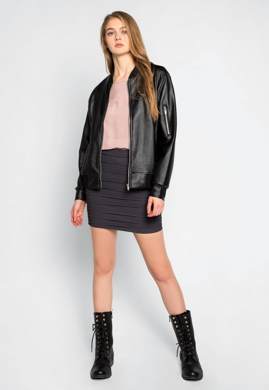 Power Play Faux Leather Bomber Jacket in Black alternate img #4