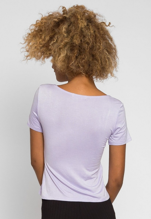 Italy Tie Front Top in Lavender alternate img #2
