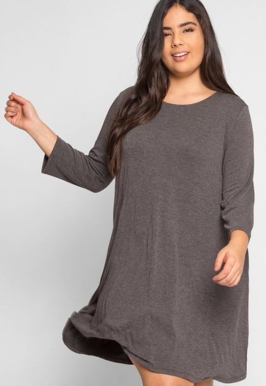 Plus Size Catwalk Tunic Knit Dress in Charcoal alternate img #5