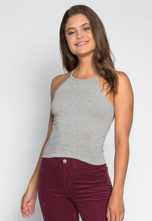 Lina Basic Tank Top in Heather Gray alternate img #3
