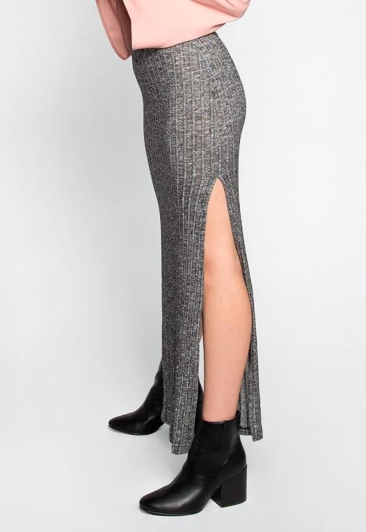 Hit The Ground Heathered Knit Maxi Skirt alternate img #3