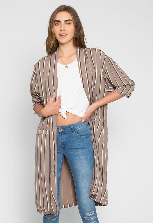 Rumors Longline Stripe Kimono in Gray alternate img #1