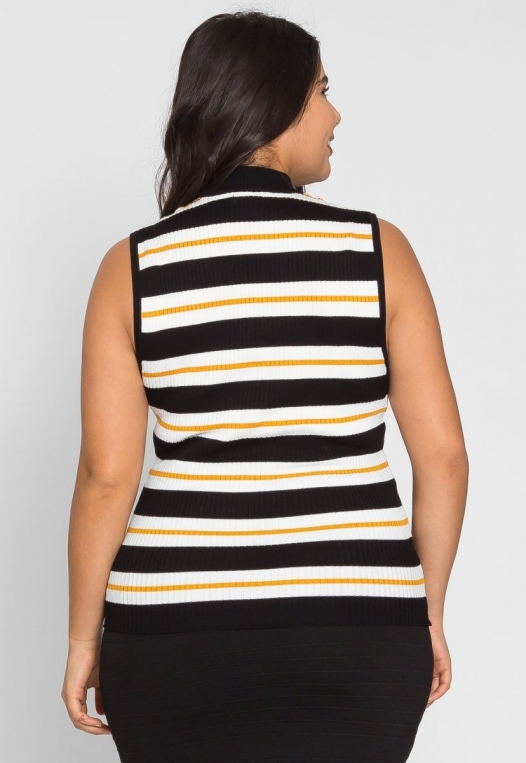 Plus Size Charger Knit Stripe Top in Yellow alternate img #2