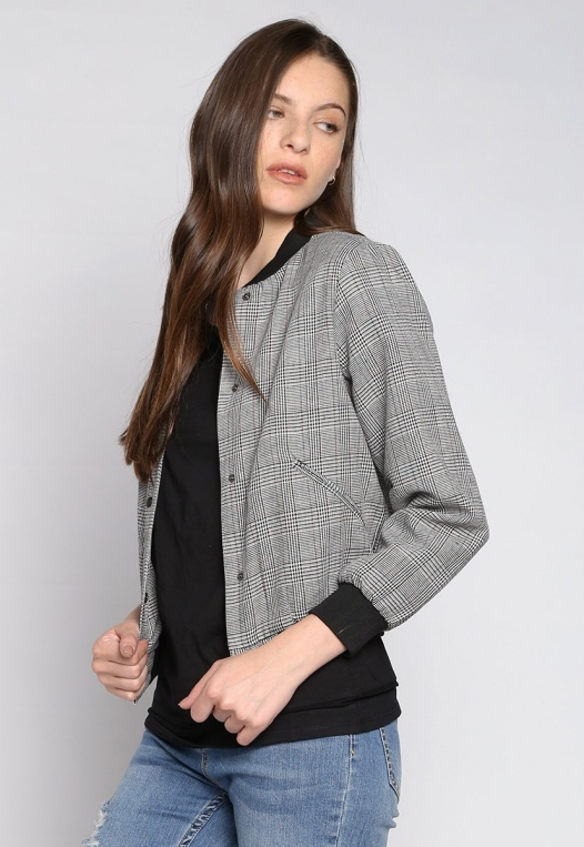 Keep It Secret Plaid Bomber Jacket alternate img #2