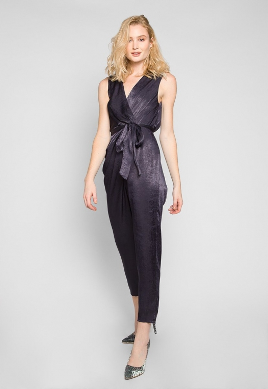 Young & Beautiful Wrap Belted Jumpsuit in Black alternate img #4