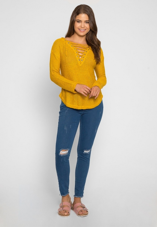 April Lace Up Sweater in Mustard alternate img #4