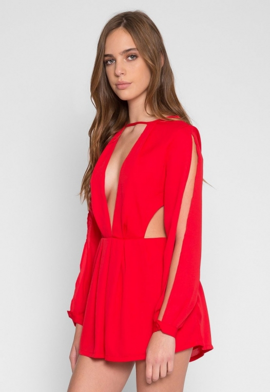 Long Sleeve Cut Out Romper in Red alternate img #1
